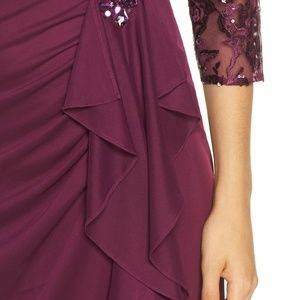 Alex Evenings Dresses - Embroidered Ruffle Detail Column Gown